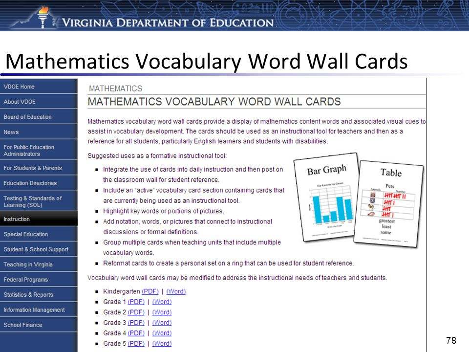 Mathematics Vocabulary Word Wall Cards