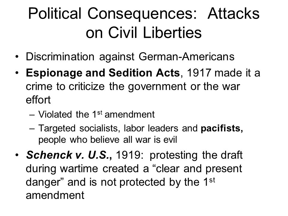 Political Consequences: Attacks on Civil Liberties
