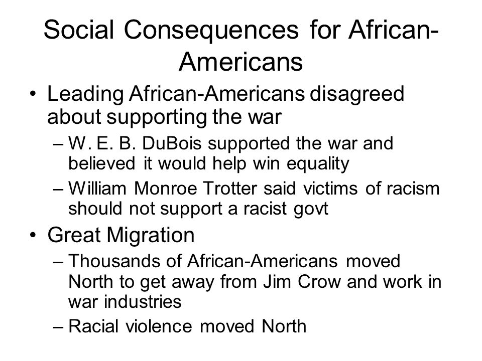 Social Consequences for African-Americans