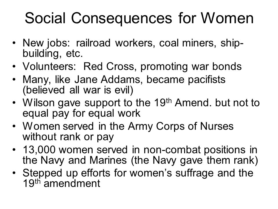 Social Consequences for Women