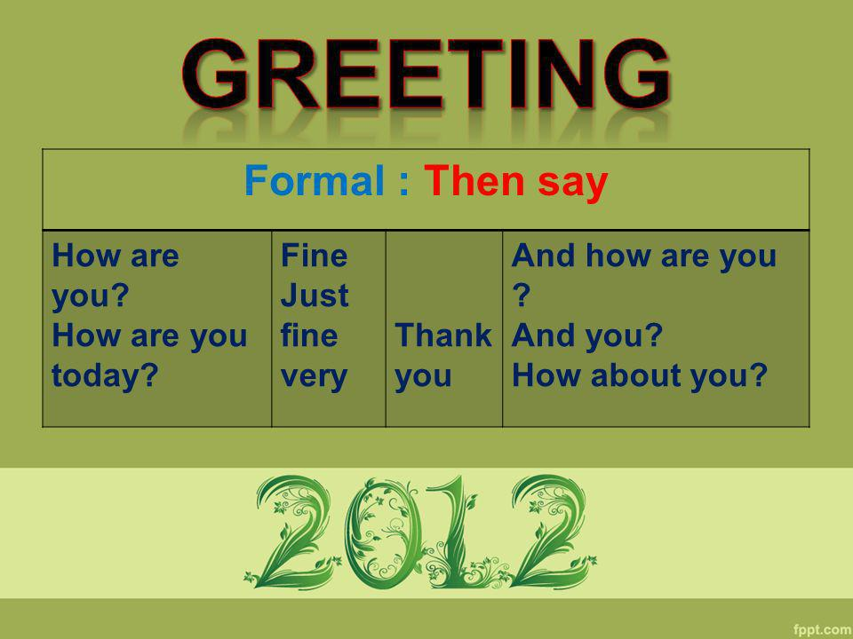 Greeting Formal : Then say How are you How are you today Fine