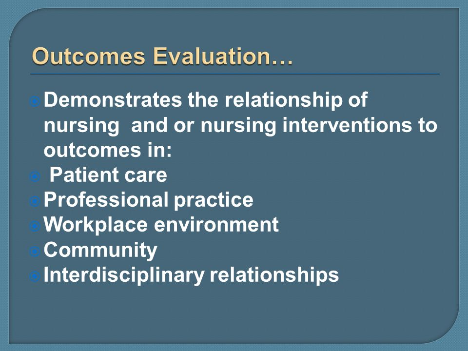 Outcomes Evaluation…Demonstrates the relationship of nursing and or nursing interventions to outcomes in: