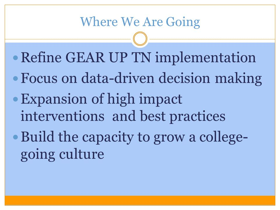 Refine GEAR UP TN implementation Focus on data-driven decision making