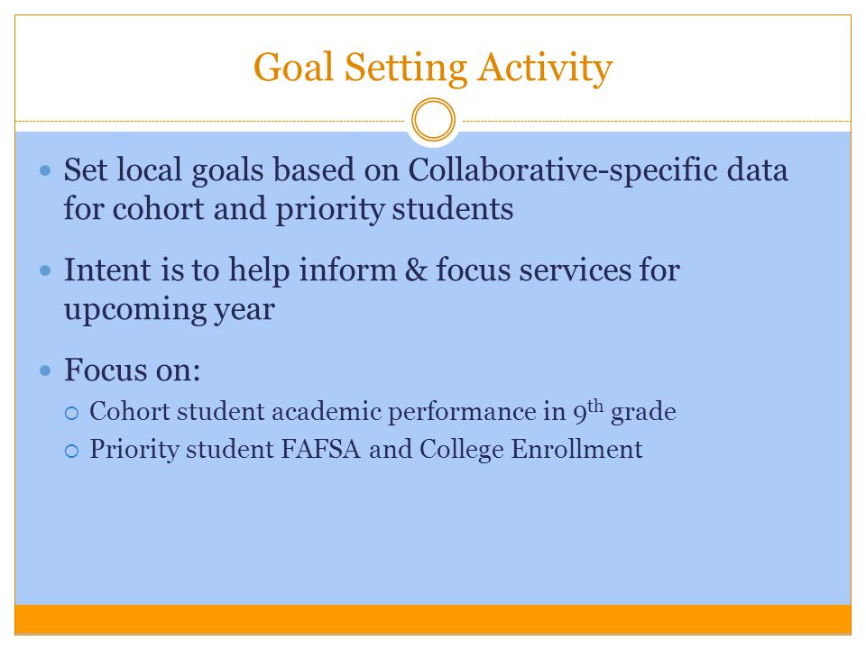 Goal Setting Activity Set local goals based on Collaborative-specific data for cohort and priority students.