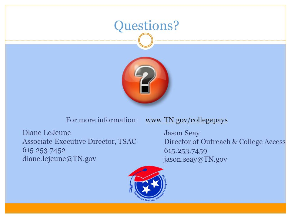 For more information: www.TN.gov/collegepays