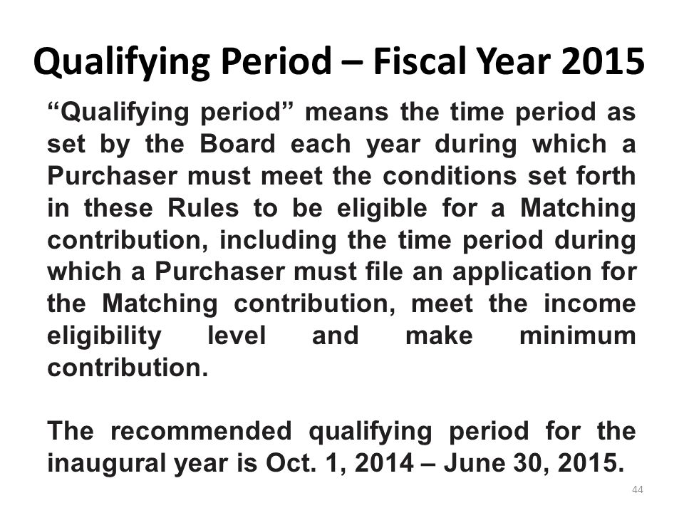 Qualifying Period – Fiscal Year 2015