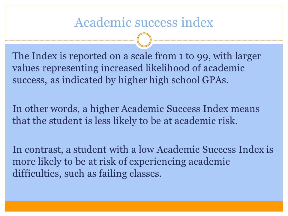 Academic success index