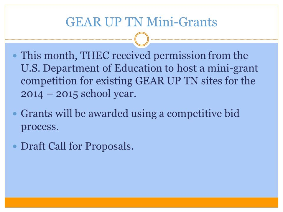 GEAR UP TN Mini-Grants