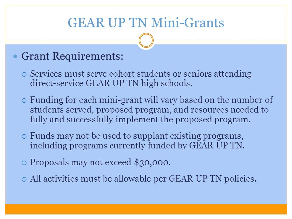 GEAR UP TN Mini-Grants Grant Requirements: