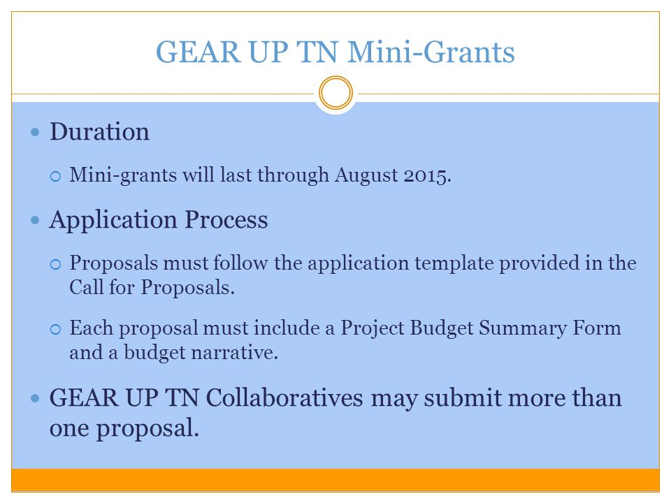 GEAR UP TN Mini-Grants Duration Application Process