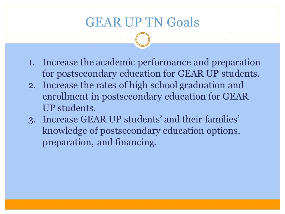 GEAR UP TN Goals Increase the academic performance and preparation for postsecondary education for GEAR UP students.