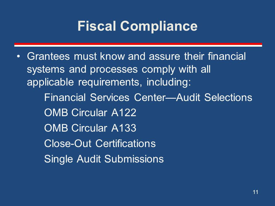 Fiscal Compliance Grantees must know and assure their financial systems and processes comply with all applicable requirements, including: