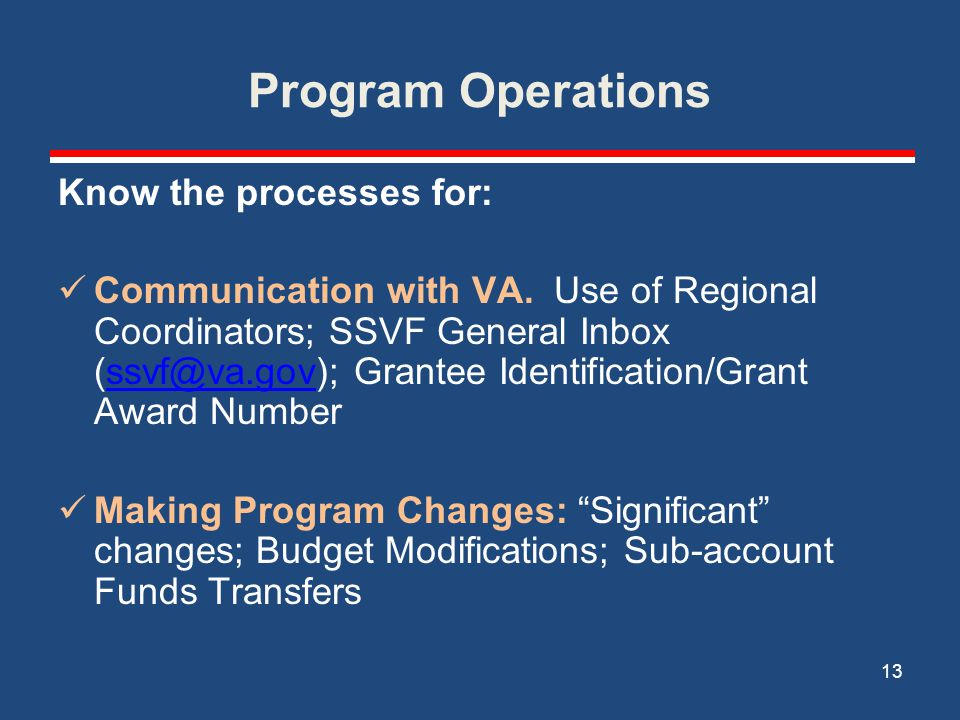 Program Operations Know the processes for: