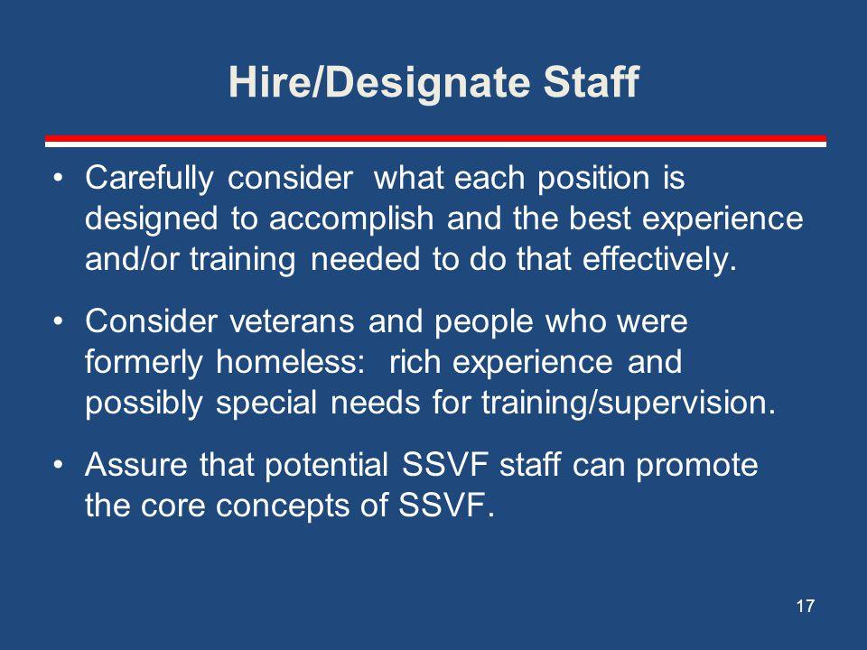 Hire/Designate Staff