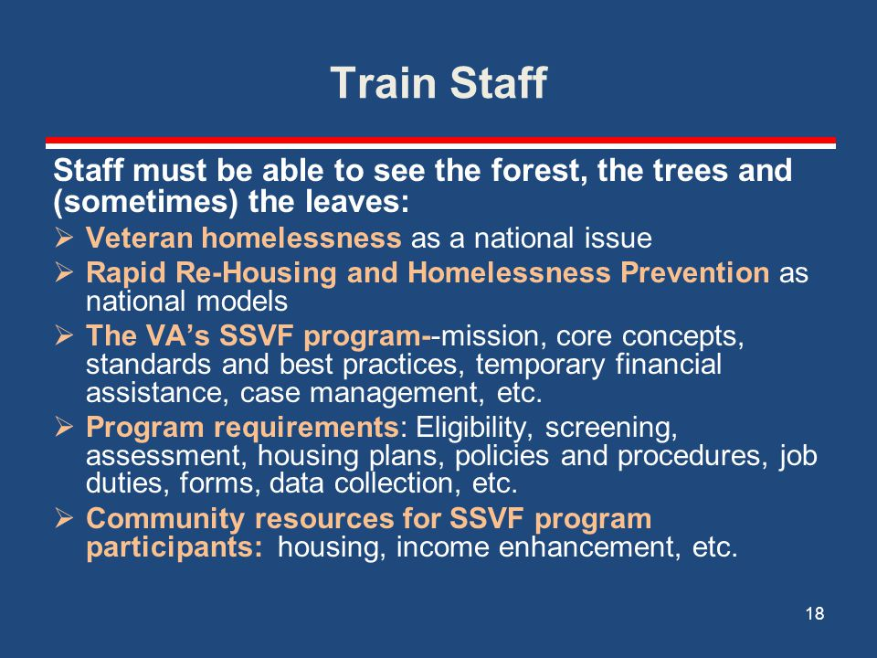 Train Staff Staff must be able to see the forest, the trees and (sometimes) the leaves: Veteran homelessness as a national issue.