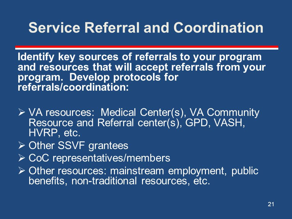 Service Referral and Coordination