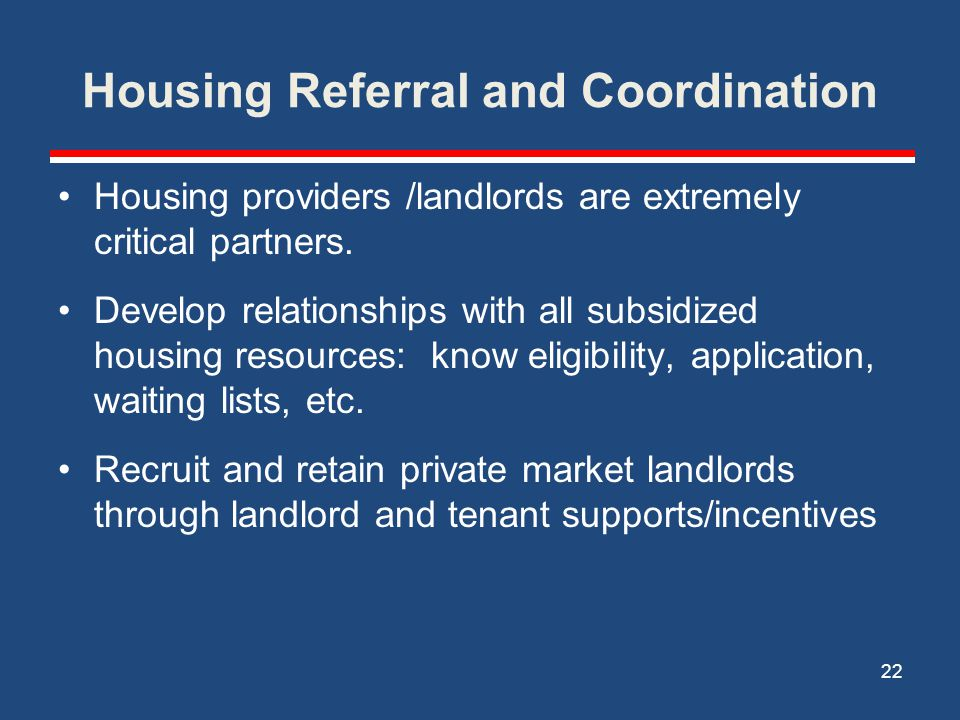 Housing Referral and Coordination