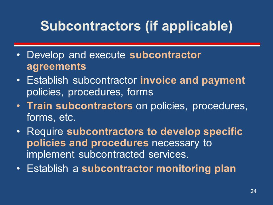 Subcontractors (if applicable)
