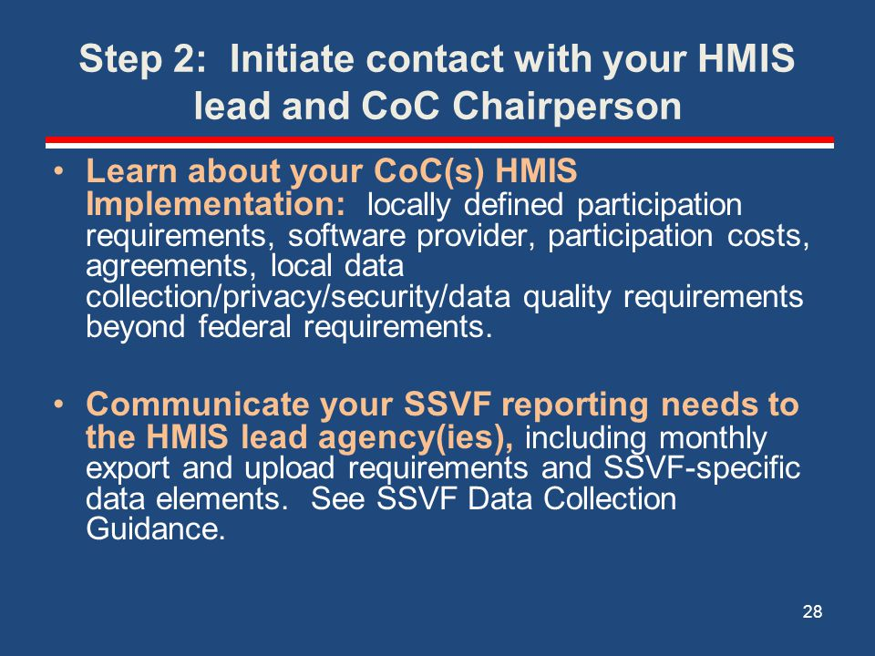 Step 2: Initiate contact with your HMIS lead and CoC Chairperson