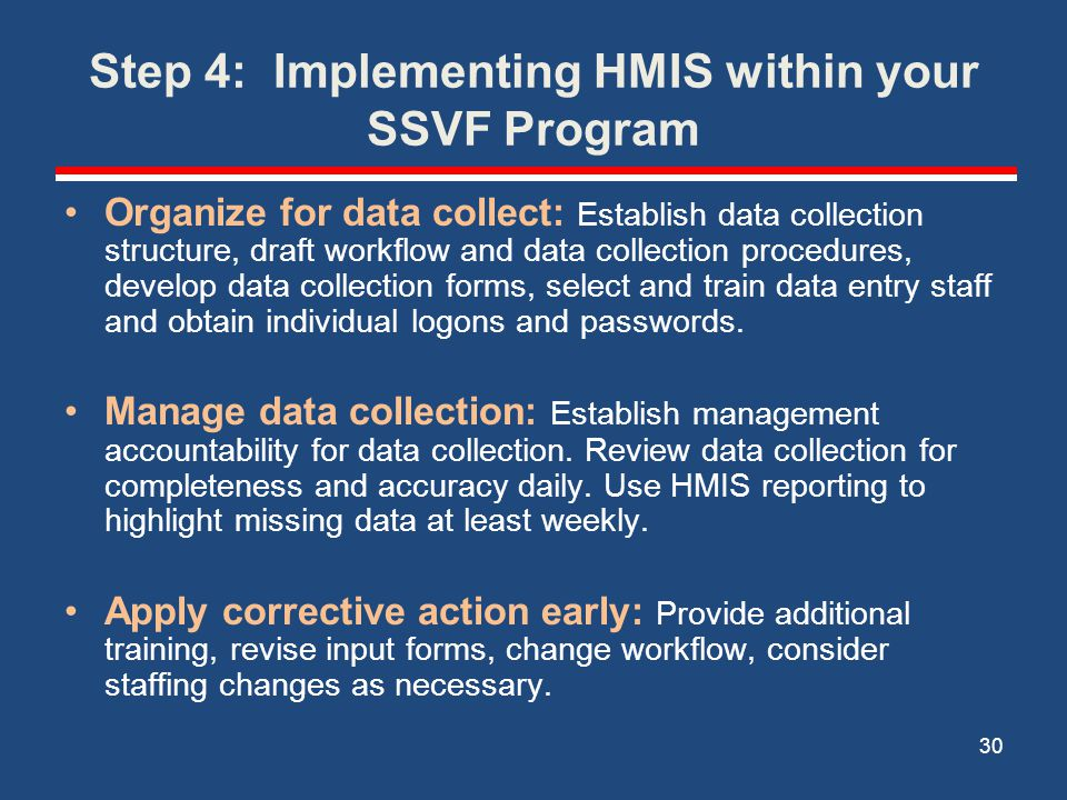 Step 4: Implementing HMIS within your SSVF Program