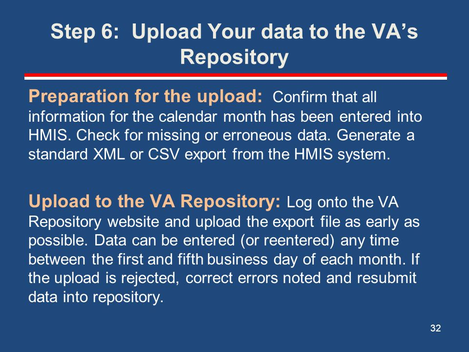 Step 6: Upload Your data to the VA's Repository