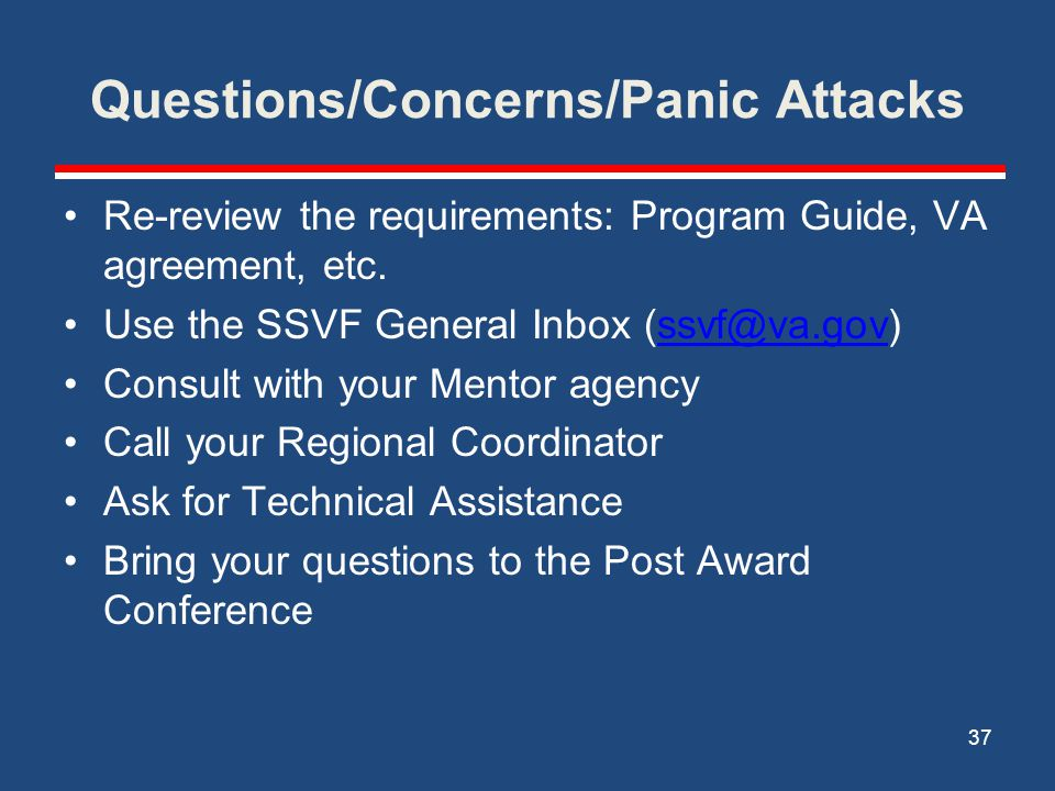 Questions/Concerns/Panic Attacks