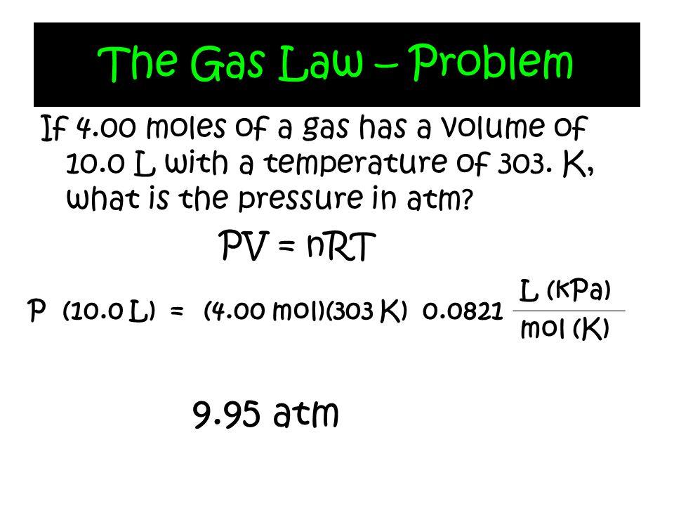 The Gas Law – Problem 9.95 atm PV = nRT