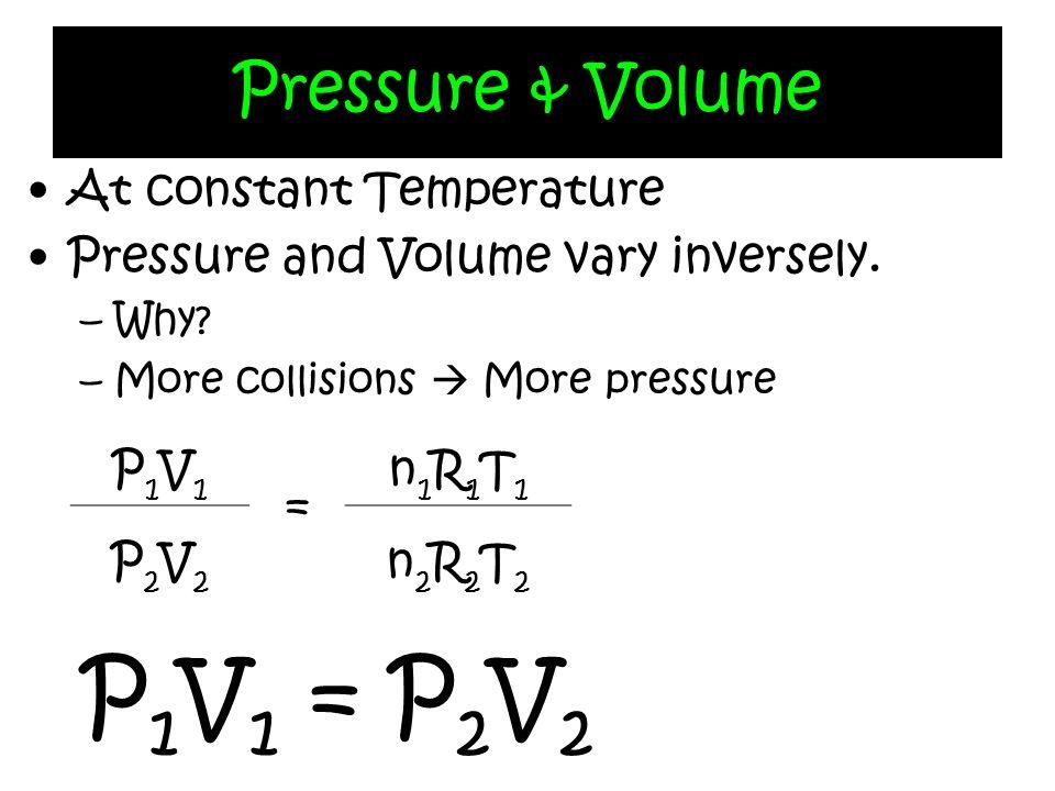 P1V1 = P2V2 Pressure & Volume At constant Temperature
