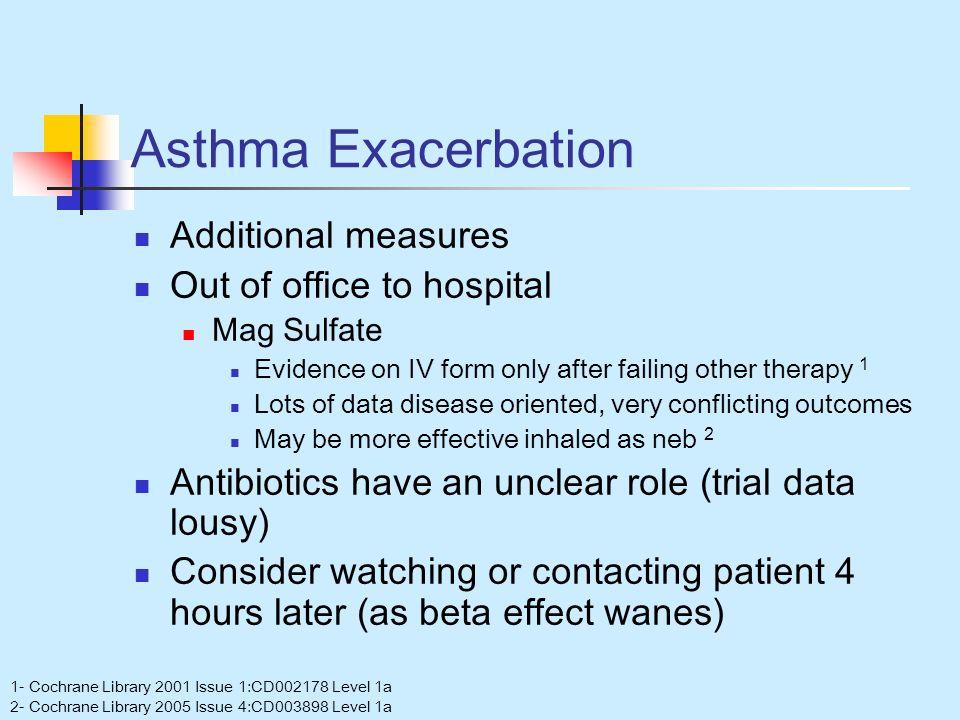 Asthma Exacerbation Additional measures Out of office to hospital