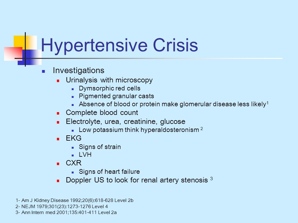 Hypertensive Crisis Investigations Urinalysis with microscopy