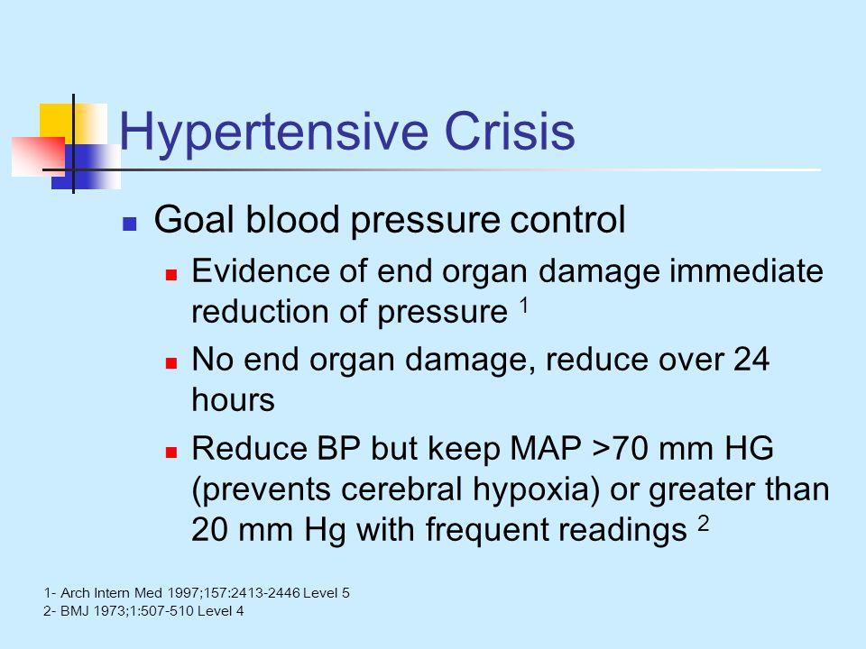 Hypertensive Crisis Goal blood pressure control