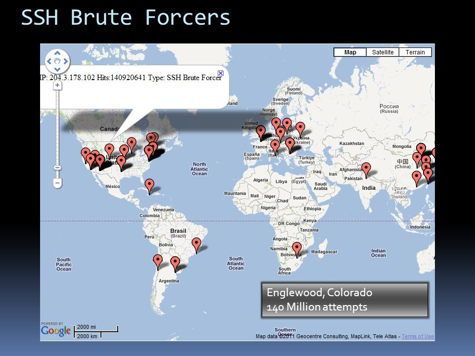 SSH Brute Forcers Englewood, Colorado 140 Million attempts