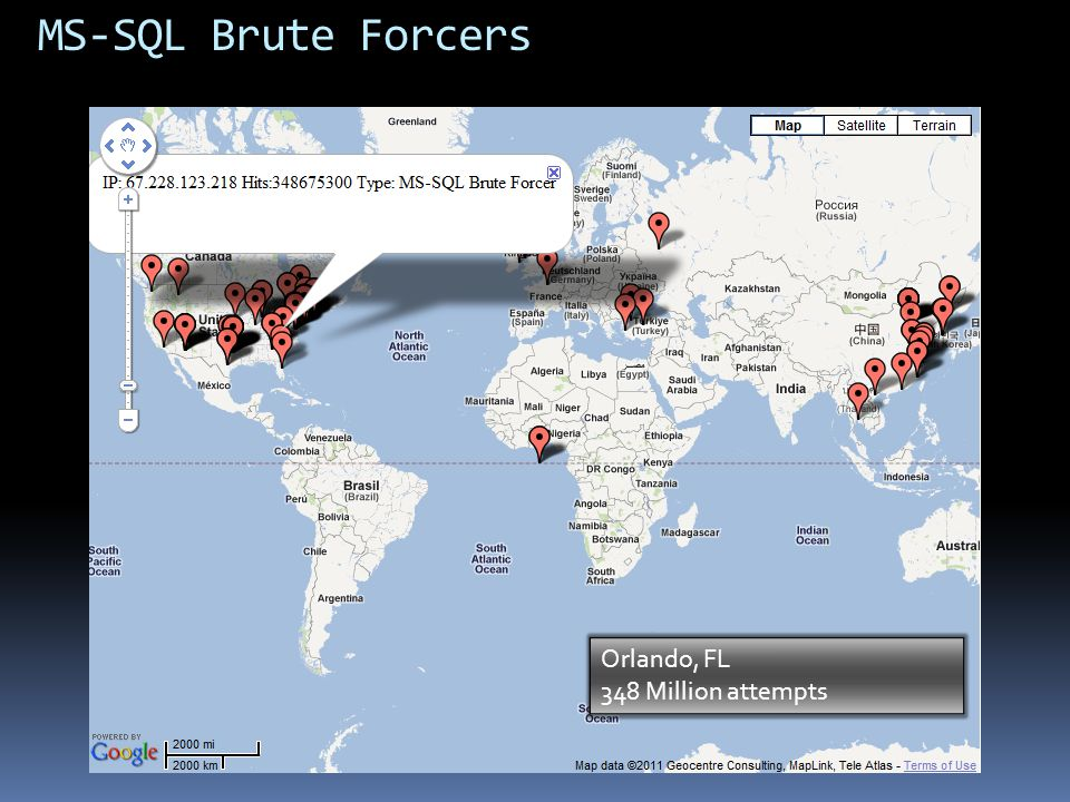 MS-SQL Brute Forcers 348 Million Hits Orlando, FL 348 Million attempts