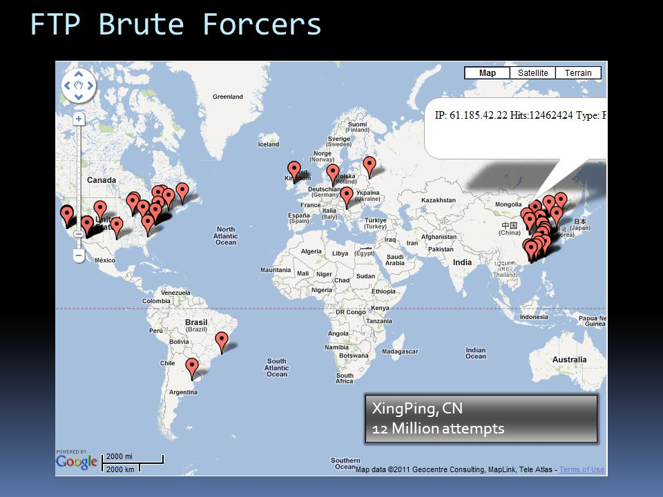 FTP Brute Forcers XingPing, CN 12 Million attempts CN 1,841,082,597