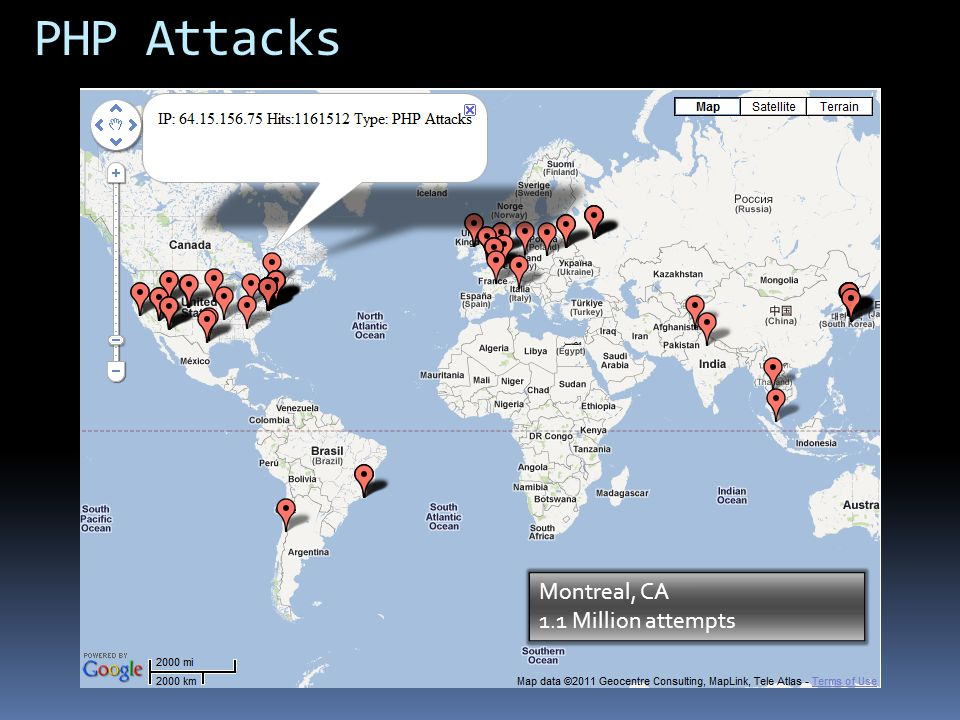 PHP Attacks Montreal, CA 1.1 Million attempts US 355,060,856