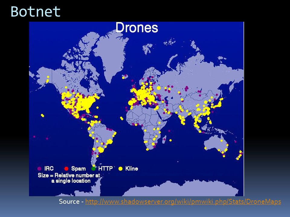Botnet Not sure why China isnt up there… This does not include the Shadow server/Emerging Threat feeds…