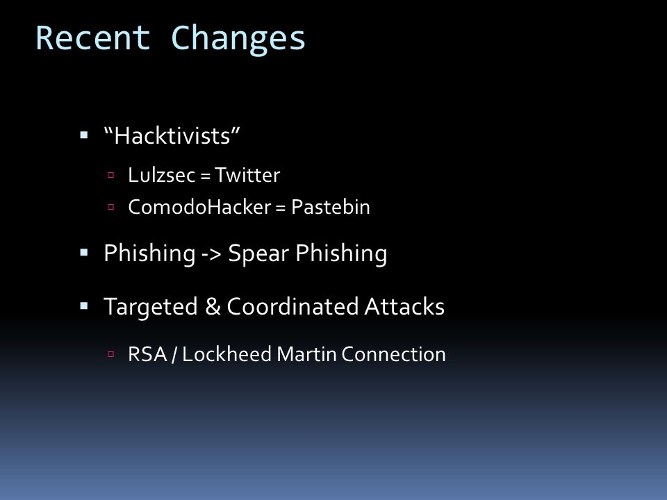 Recent Changes Hacktivists Phishing -> Spear Phishing