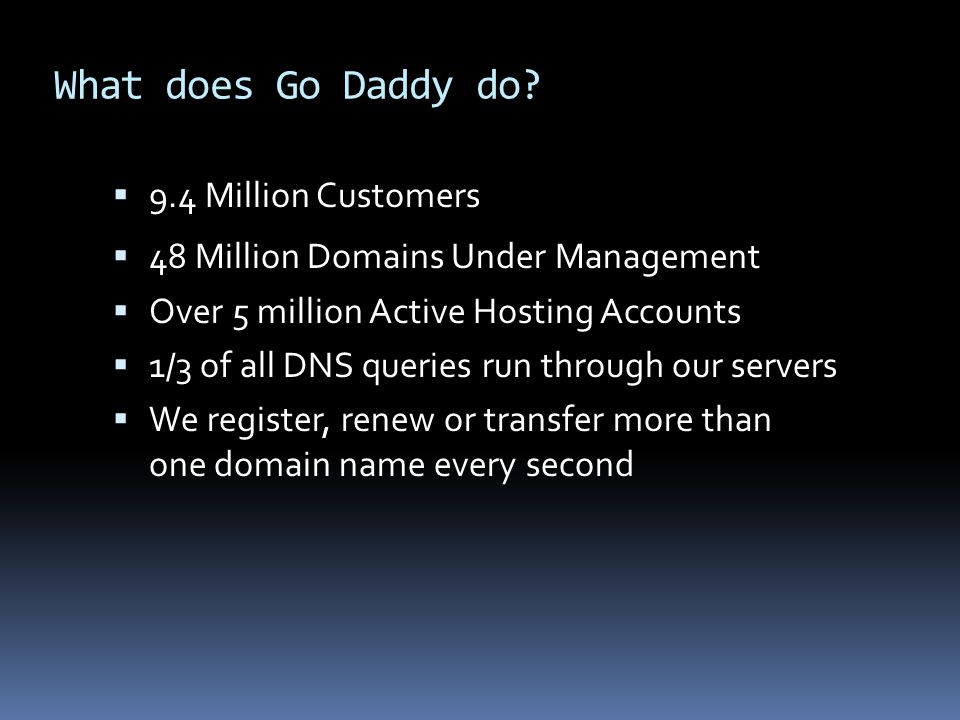 What does Go Daddy do 9.4 Million Customers