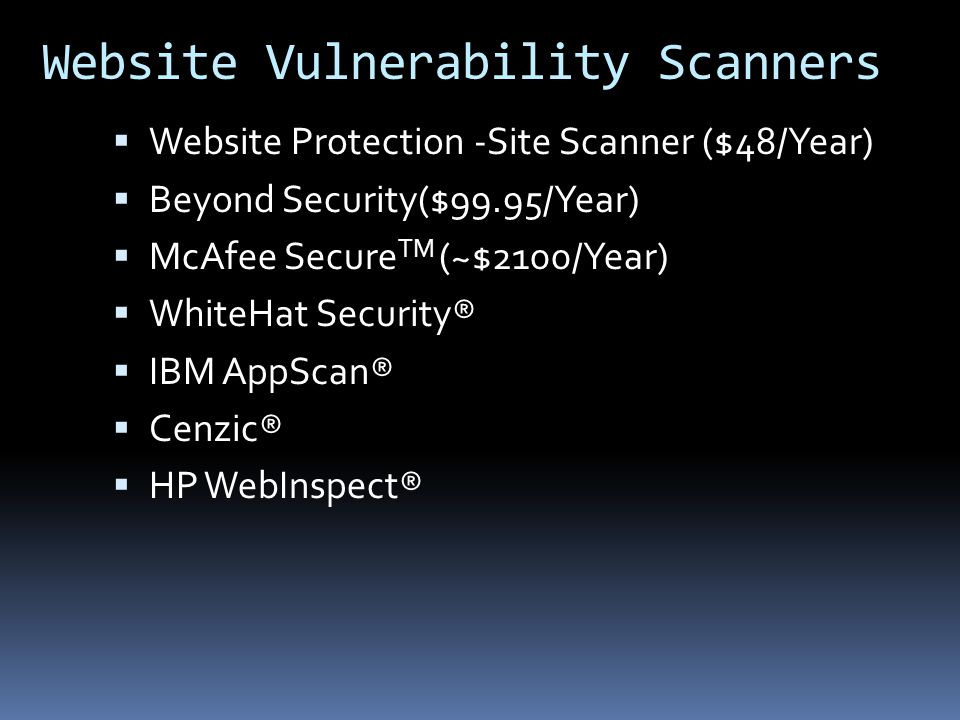 Website Vulnerability Scanners