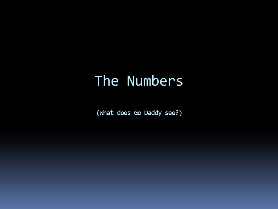 The Numbers (What does Go Daddy see )