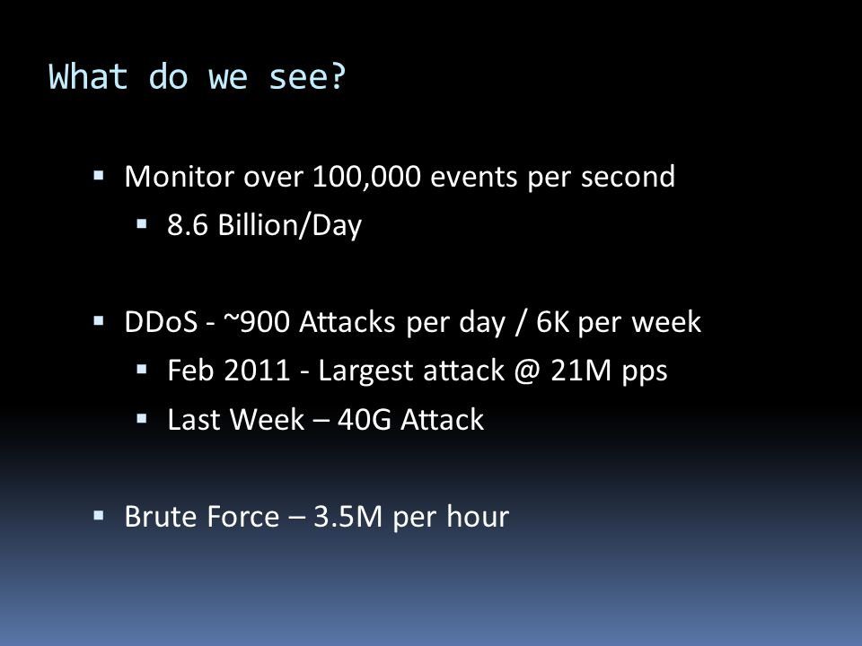 What do we see Monitor over 100,000 events per second 8.6 Billion/Day