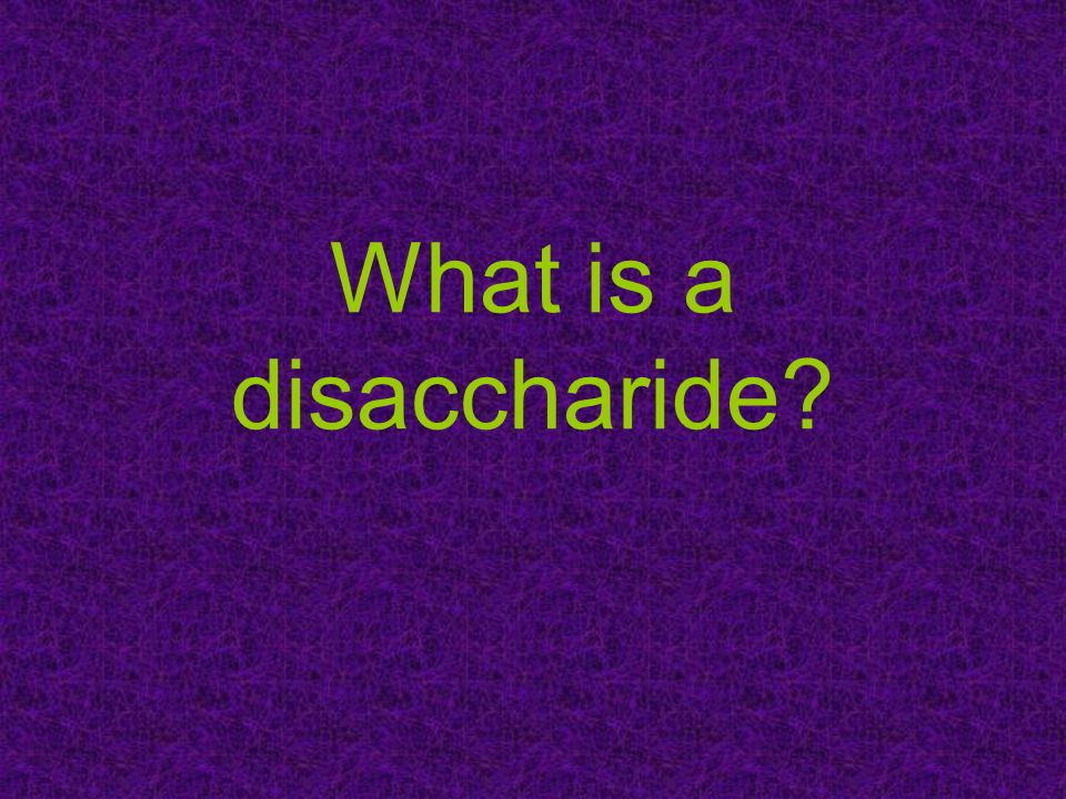 What is a disaccharide
