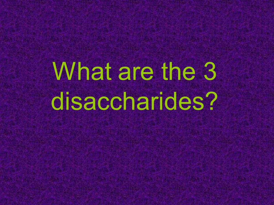 What are the 3 disaccharides