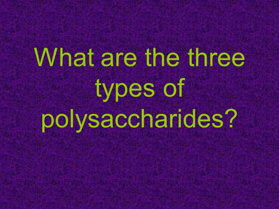 What are the three types of polysaccharides