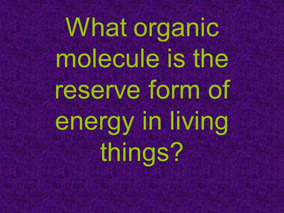 What organic molecule is the reserve form of energy in living things