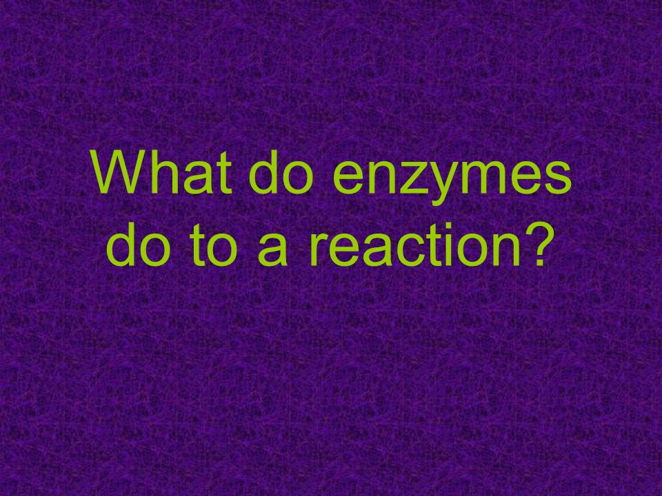 What do enzymes do to a reaction