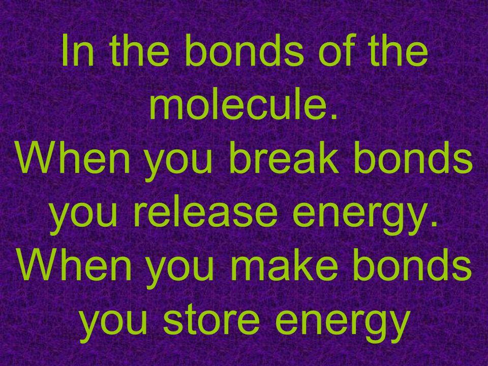 In the bonds of the molecule. When you break bonds you release energy
