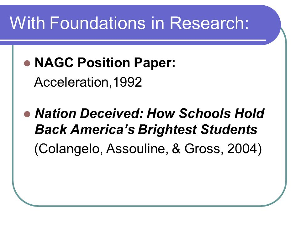 With Foundations in Research: